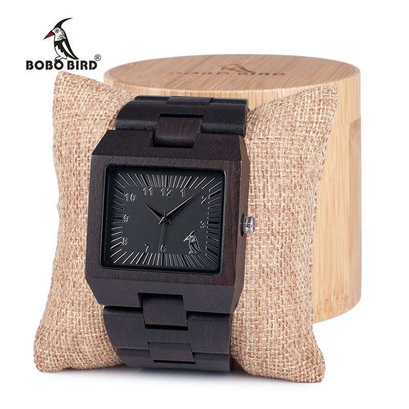 BOBO BIRD Ebony Trä Rektangel Quartz Armbandsur Man Top Luxury Band - Herrklockor