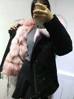 2016 Fashion Top Quality Factory Direct Sale Mr Mrs Black Furs Parka Real Fox Fur Jacket