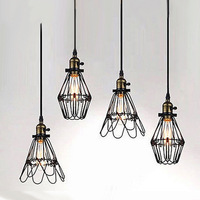 Hot Selling American Iron Cage Vintage Style Pendant Light Small Personalized Bar Decoration Light E27