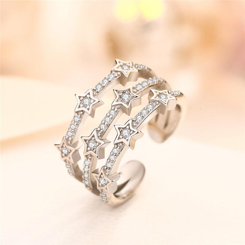 Кольцо регулируемое с кристаллами женское, модное трехслойное ювелирное изделие со звездой из циркония, с деликатным прозрачным кристалло...