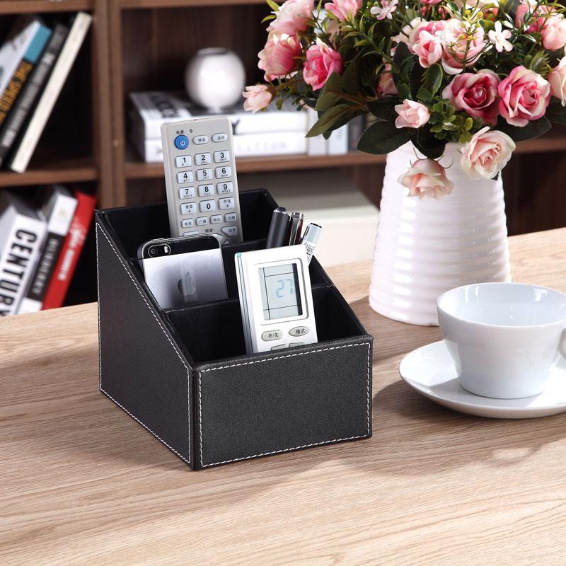 3 celler fjernbetjening holder makeup kosmetisk organizer skrivebord kontor organizer retro pu læder opbevaring boks