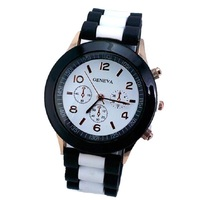 10 Geneva Watch Duo Color New 2014 White Band Silicone Women Watches Analog Quartz Wristwatches Casual