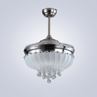 Ceiling fan lamp Rose 42 inch LED crystal ceiling lights 85 265V Silvery Dimming remote control ceiling fan lamp