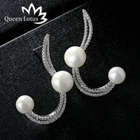 Queen Lotus 2017 Popular Jewelery Fashion Personality Long Wave Pearl AAA Zircon Crystal Earrings Elegant Luxury