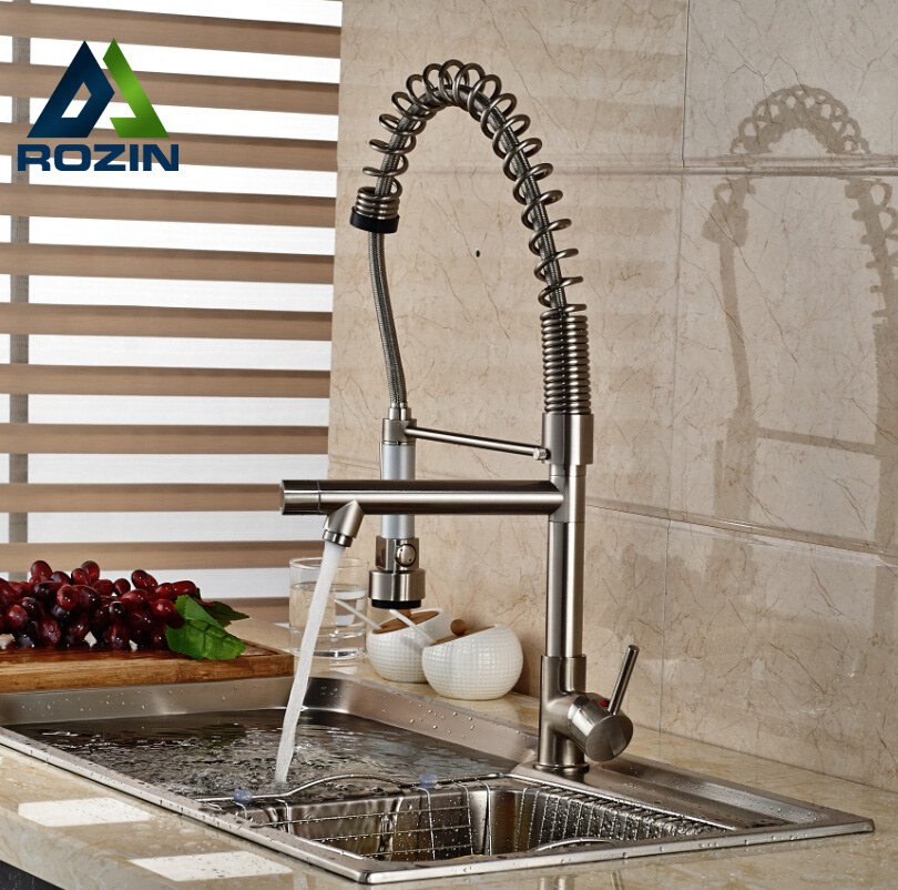 Brushed Nickel Pull Down Kitchen Faucet Dual Spout Rotation Kitchen Mixer Taps Single Handle цена 2017