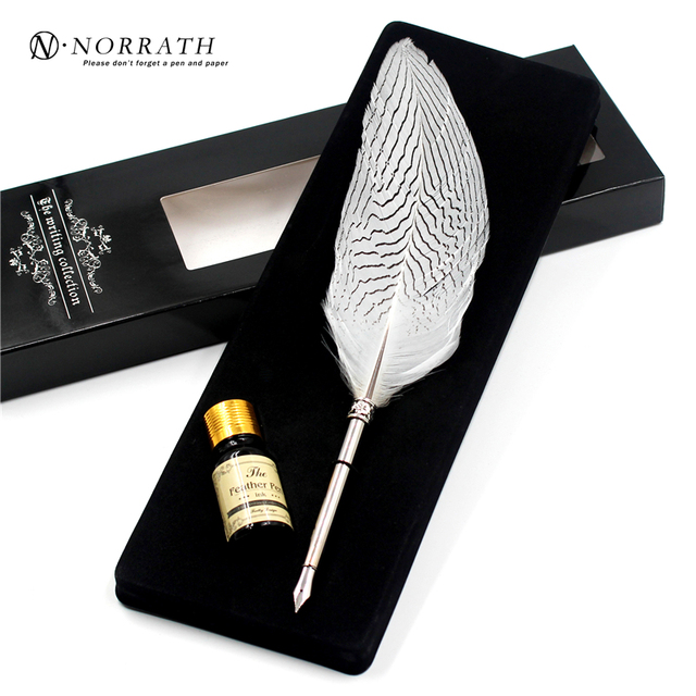 Vintage Silver Feather Fountain Pen Luxury Gift Box Quill Ink Pen ...