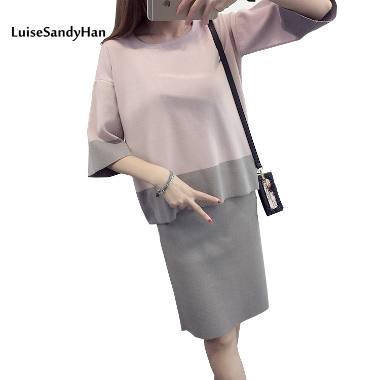 2017 Women Sets Pullover and Skirt Female Sweater Fashion Autumn Winter Warm O Neck Casual Loose