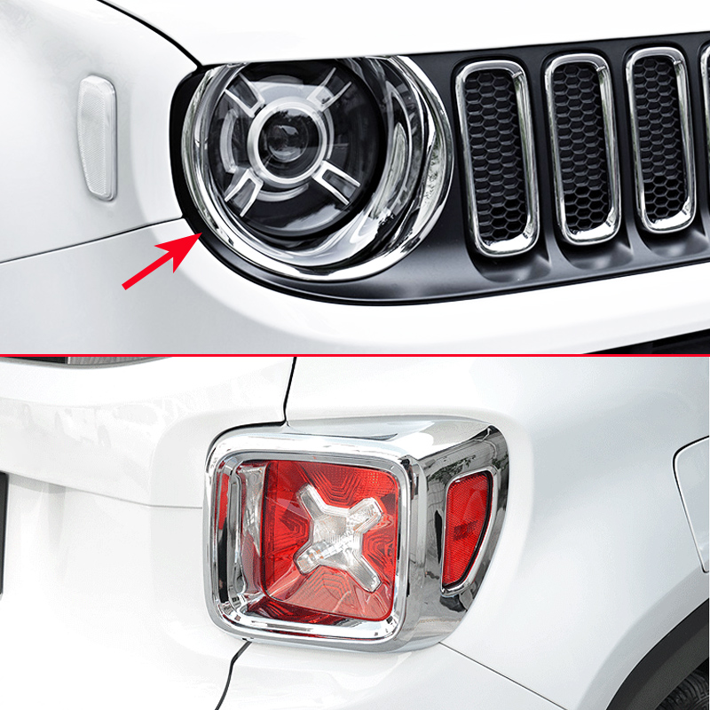 Head Tail Light Chrome Cover FOR Jeep Renegade BU 2015 2016 2017 2018 Accessories Headlight Taillight