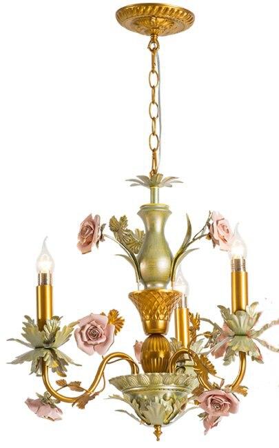 Золотой свет канделябра Цветок Утюг подвесной светильник Home Decor Романтический Гостиная Спальня светодиодные лампы Книги по искусству ламп