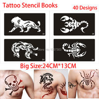 New 40Pcs Airbrush Tattoo Stencils Books Big Designs Body Painting Glitter Temporary Henna Tattoo Stencil Mixed Design