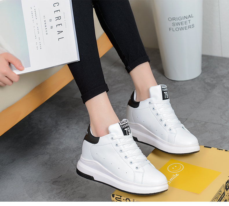 Hide Heel Wedge Leather Casual Shoes Woman 2017 Fashion Spring Lace Up Ladies Shoes Breathable Women White Shoes Superstars ZD39 (39)