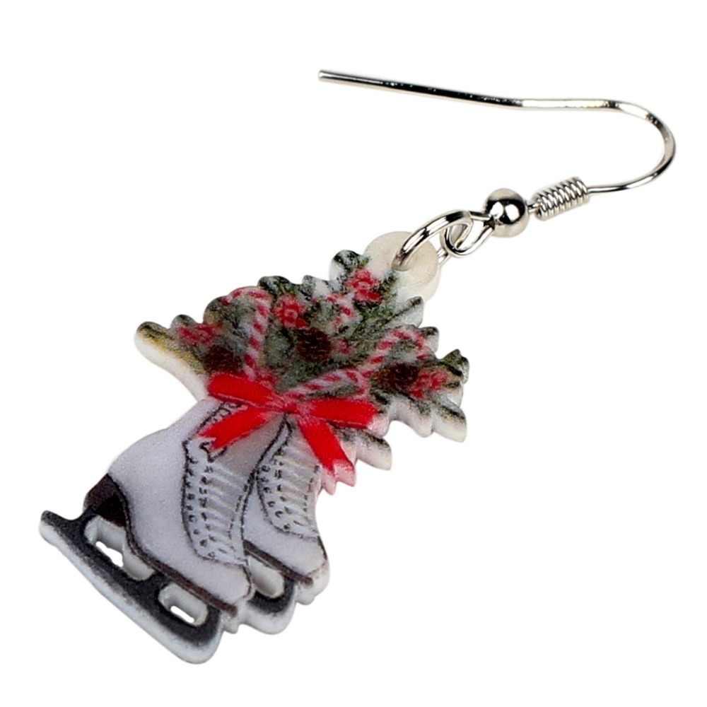 Bonsny акриловые рождественские коньки Цветочные украшения серьги-подвески в форме капли Рождественский подарок на Новый год ювелирные изделия для женщин шармы для девочек Natal