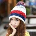 Marca de outono e inverno de marcas de nova bola de cabelo de malha chapéu de lã de esqui chapéus para mulheres
