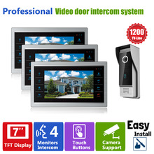 YSECU Door Phone Monitor Video Doorbell Camera Intercom 3V1 Home Security 3 Indoor LCD Screen Display 1 1200TVL Pinhole view