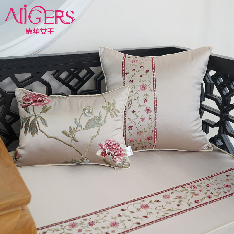 Avigers Luxury Embroidery Cushion Cover Modern Silky Cotton Flower PillowCase Hot Design Home Decorative Sofa Chair Throw Pillow