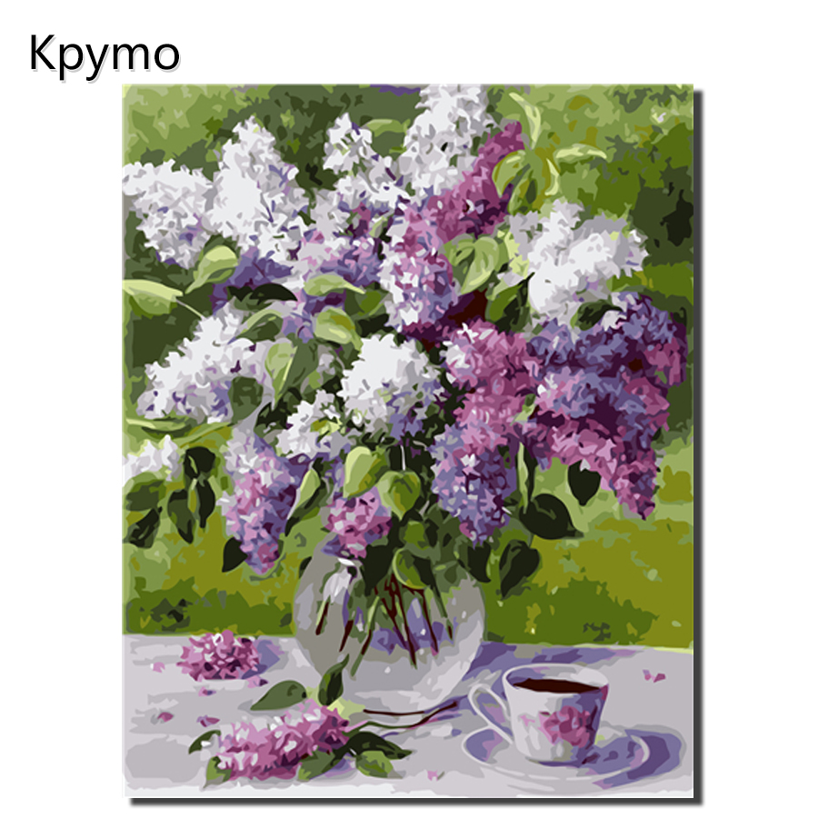 Kpymo DIY Framed Oil Painting By Numbers Flowers Pictures Canvas Painting For Living Room Wall Art Home Decor VA-0321
