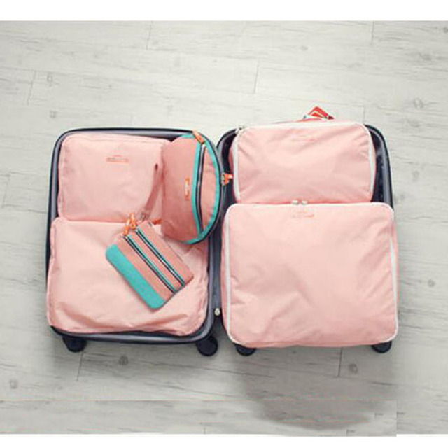 5PCS/Set High Quality Oxford Cloth Travel Mesh Bag Luggage Organizer Packing Cube Organiser Travel Bags Travel Bags Packing Cube 1