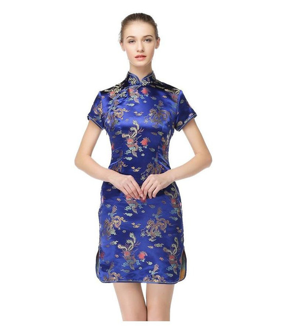 Navy Blue Chinese Traditional Women Cheongsam Silk Satin Qipao Sexy Slim Dress Novelty Casual Dress Size S M L XL XXL WC008