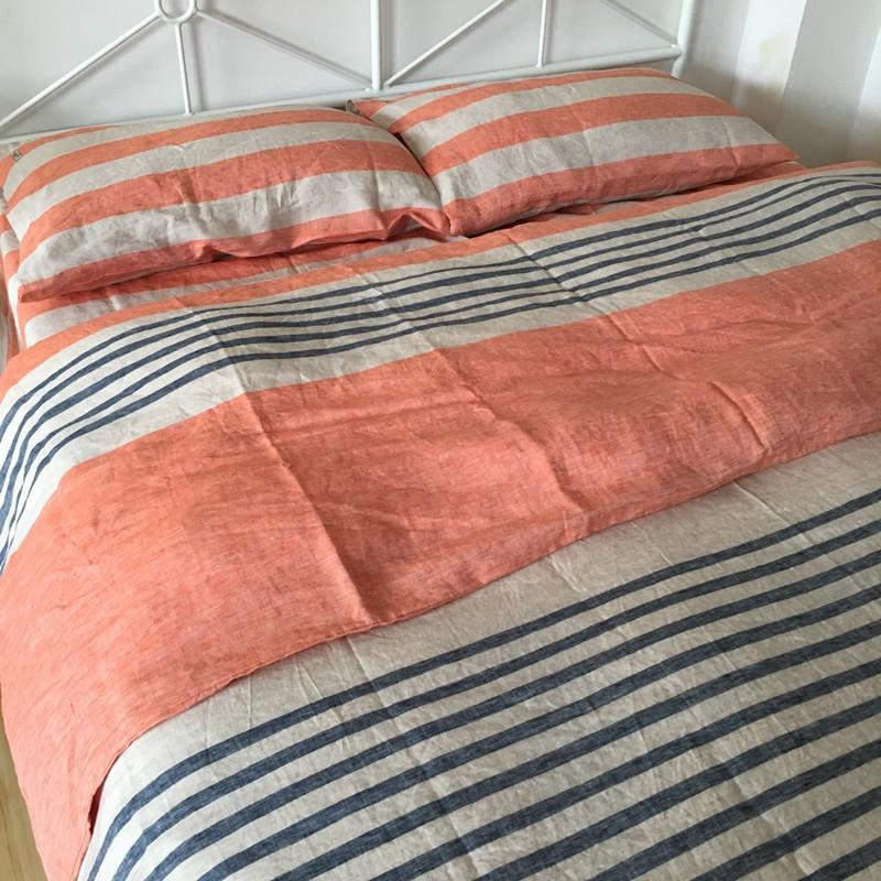 4pcs Washed Striped French Linen Duvet Cover Set King Linen Bedding Set  Pure Bed Linen Sheets Pillowcases Queen In Bedding Sets From Home U0026 Garden  On ...