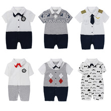 цена на Newborn Baby Clothes Boy Gentleman Summer Romper Short Sleeve Newborn Jumpsuit Casual Suit With Bow Tie Summer Style Baby Girls