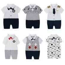 Newborn Baby Clothes Boy Gentleman Summer Romper Short Sleeve Newborn Jumpsuit Casual Suit With Bow Tie Summer Style Baby Girls