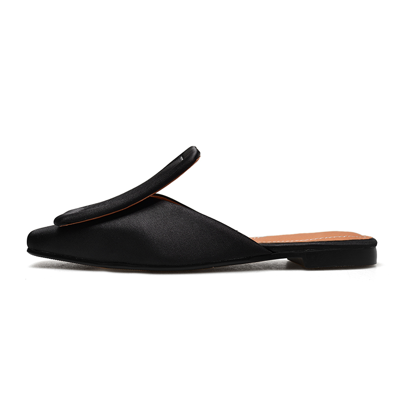 WETKISS New Summer Women Slippers 2019 Satin Casual Fashion Female Mules Shoes Square Toe Flat Sole Slides Footwear Big Size 43
