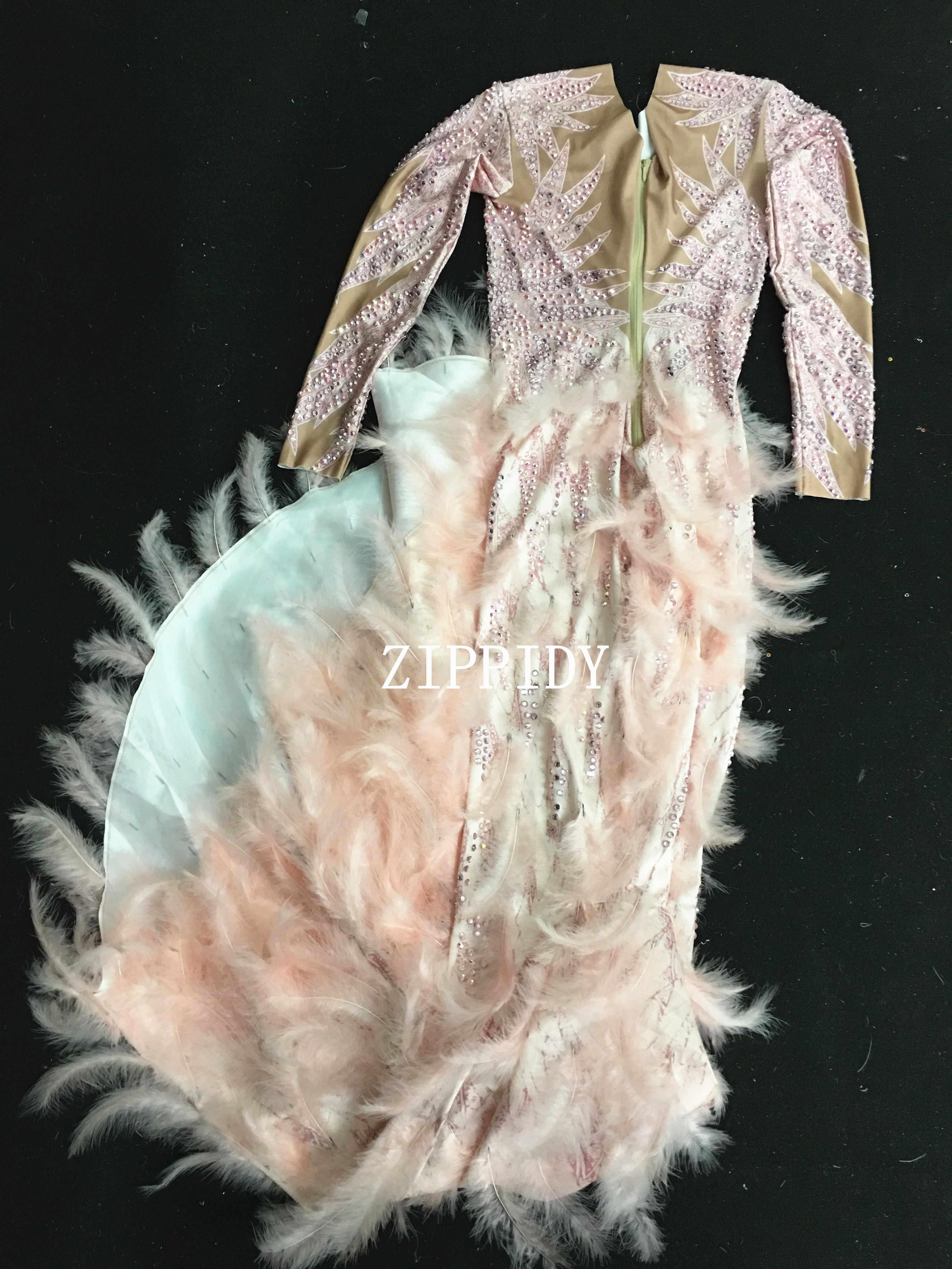 Новинка, блестящие стразы, Розовое перо, обнаженное платье, сексуальное, полный, камни, длинный, большой хвост, костюм, выпускной, день рождения, празднование, платья