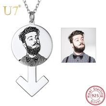 U7 Personalized Photo Custom Pendant Necklace 925 Sterling Silver Male / Female Symbol Design Necklace Women Jewelry Gifts SC213 necklace 925 sterling silver custom photo