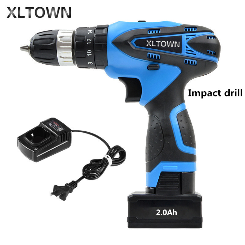 XLTOWN25V 2000mA Impact Drill Rechargeable Lithium Battery Electric Screwdriver Multifunction Cordless Household Electric Drill makita 18v lithium battery series tool cordless impact screwdriver 3000ipm 2300rpm