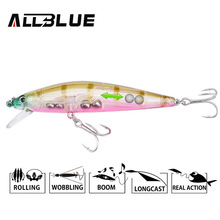 ALLBLUE Suspend Minnow 90mm 11.4g Dive 1M Plastic Artificial Bait 3D Eyes Hard Fishing Lures Wobbler Fishing Bait Fishing Tackle