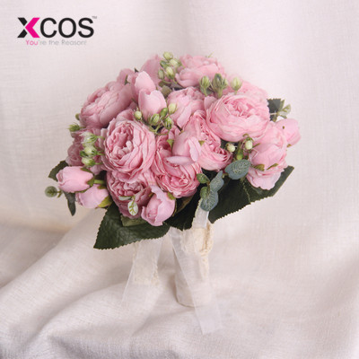 2018 Romantic Wedding Flower Bridal Bouquet For Bride Bridesmaids White Red Pink Champagne Bouquet De Mariage