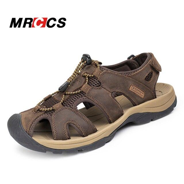 6a0df611371b8e MRCCS Breathable Mesh Net   Genuine Leather Men s Sandals