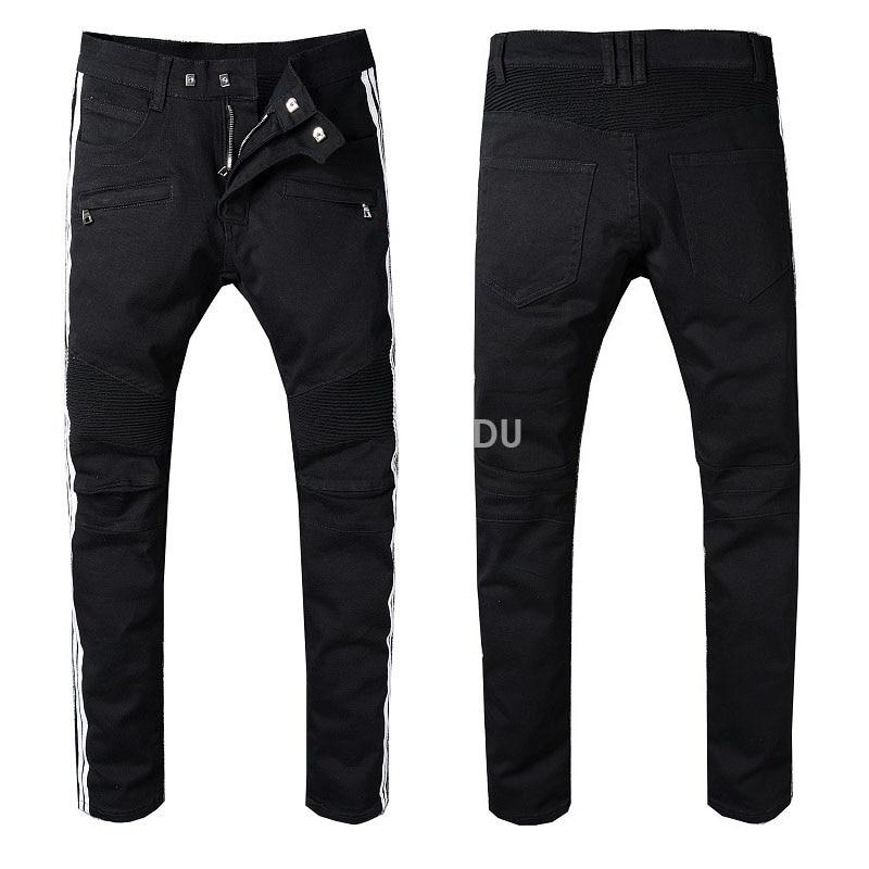 90baa4d45644 New France Style  992  Men s Black Mix White Side Stripe Moto Pants Ribbed  Black Skinny Biker Jeans Slim Trousers Size 29 42-in Jeans from Men s  Clothing on ...