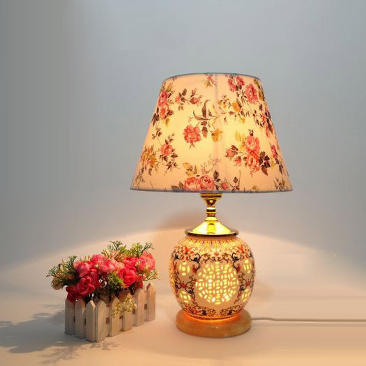 D12 x H19 Chinese Classical Ceramic Bedroom Beside Table Light Creative Country Rustic Hotel Table Lamp White marble Base
