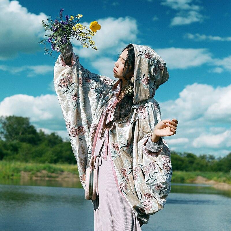 Trench Rose Avec Survêtement Capot Un Style Épaississement Chinois Femmes Brodé Manteau Automne qwPAn7v4x