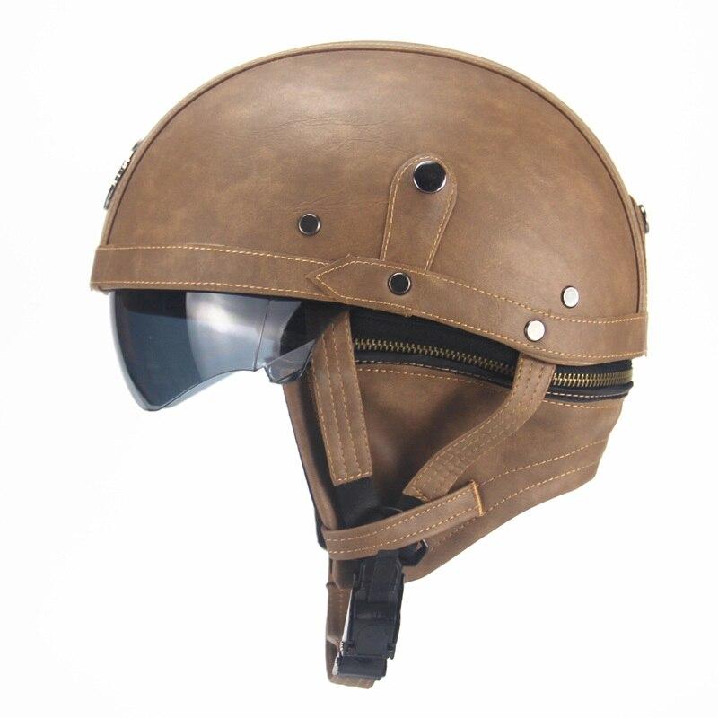 Adulte PU cuir casques pour moto rétro demi croisière casque Prince moto casque DOT approuvé avec visière
