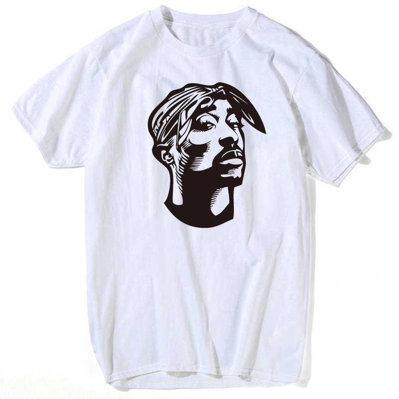 545f5cbea1 Eminem camiseta Shakur Hip Hop Camiseta de algodón blanco carácter cuello  Makaveli rapero J Cole Jay