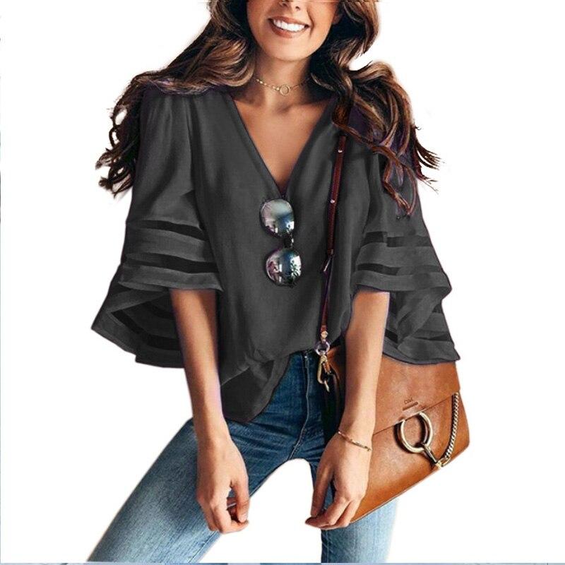 Women 3/4 Flare Sleeve Chiffon Blouse Summer Autumn V Neck Loose Tops Mesh Stitching Tunic Shirt Plus Size 4
