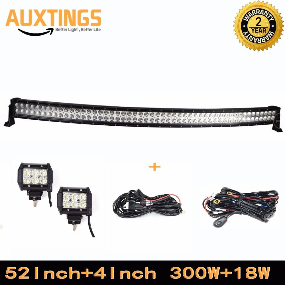 52 ''300 w lumière à LED incurvée barre faisceau combiné avec kit de télécommande sans fil et 2 pièces 4