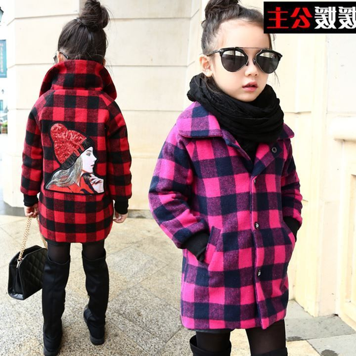 Girls Fall and Winter Clothes Wool Cardigan Collar Windbreaker Children Personality Plaid Woolen Coat Kids Clothing Red Rose Red autumn winter plaid wool two pieces girls children suit vest dress kids clothing sets white red wool