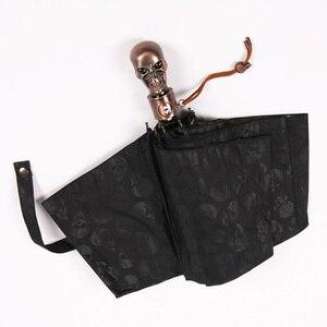 Image 4 - Creative Skull Handle Big Umbrella Men Automatic 3Folding Punk Retro Umbrella Rain Women High Quality Printed Umbrella For Gifts