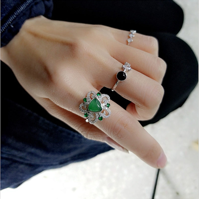 Natural Green Onyx Flower Cuff Ring For Women In 100% Solid Sterling Silver 925 Elegant Luxury Natural Stone Jewelry Female Gift charming solid color footprint cuff ring for women