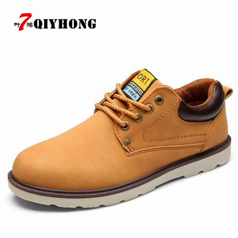 QIYHONG New Brand Hot Sale Casual Shoes Men Spring Autumn Waterproof Solid Lace-Up Man Fashion Flat With Pu Leather Shoe chilenxas new fashion spring autumn leather men casual shoes breathable lightweight comfortable lace up solid waterproof 2017