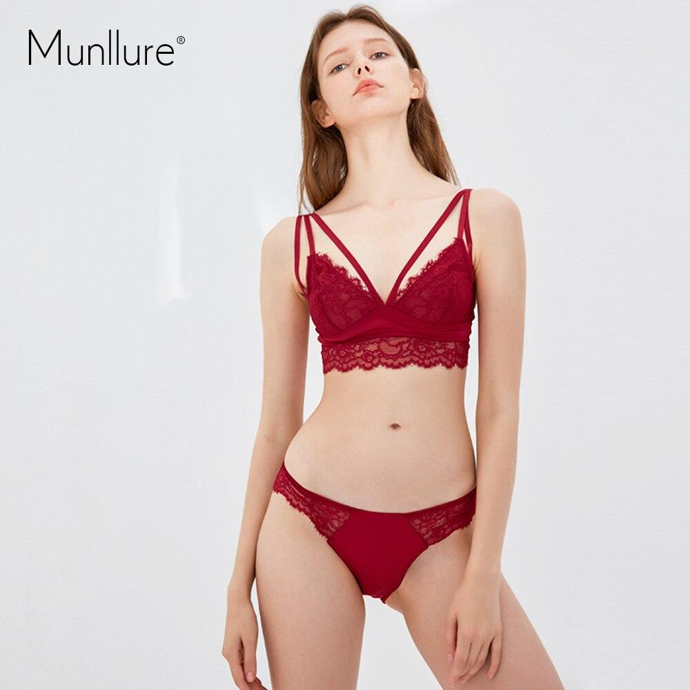 8ce4299000 Munllure No steel ring solid color ultra thin tied comfort soft cup lace  women underwear bra set-in Bra   Brief Sets from Underwear   Sleepwears on  ...