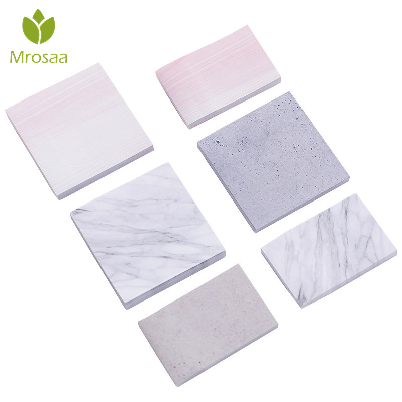 Mrosaa 1PC Creative Marble Color Self Adhesive Memo Pad Stone Style Sticky Notes Post It School Office Stationery Supply