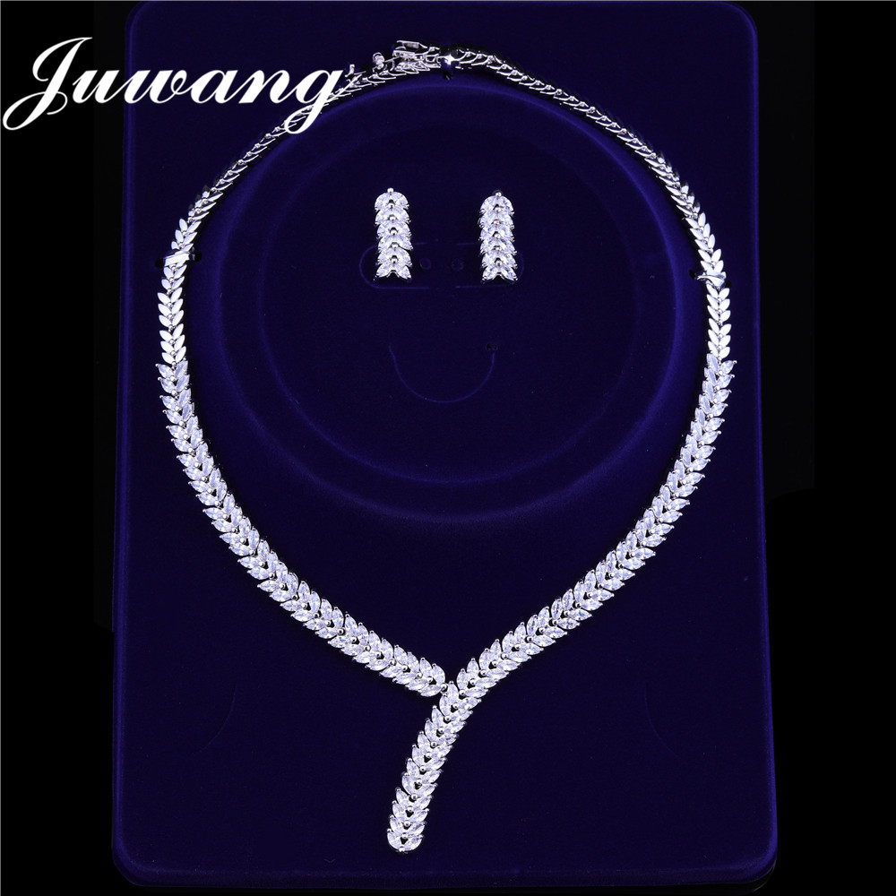 JUWANG Jewelry-Sets Earrings Wedding-Necklace Zirconi Women's Exclusive Ketteset Woman
