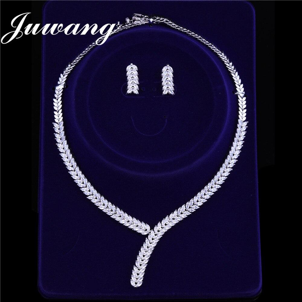 JUWANG brillant ensembles de bijoux cubique Zircon collier boucles d'oreilles pour femme mariage bijoux de mariée ensembles accessoires de robe de soirée 2