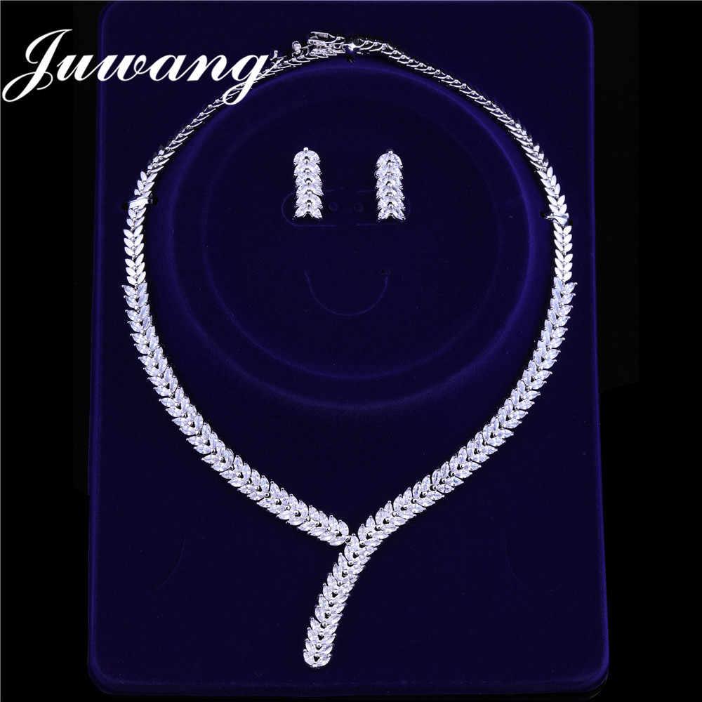 JUWANG 2019 ดูไบเครื่องประดับชุดผู้หญิง Zirconia หรูหราเครื่องประดับชุดผู้หญิงคลาสสิกสร้อยคอต่างหูหิน