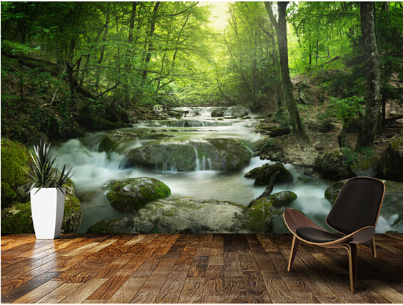 Custom photo landscape wallpaper,Enchanting Forest waterfall 3D murals for living room kitchen bedroom waterproof PVC wallpaper custom green forest trees natural landscape mural for living room bedroom tv backdrop of modern 3d vinyl wallpaper murals