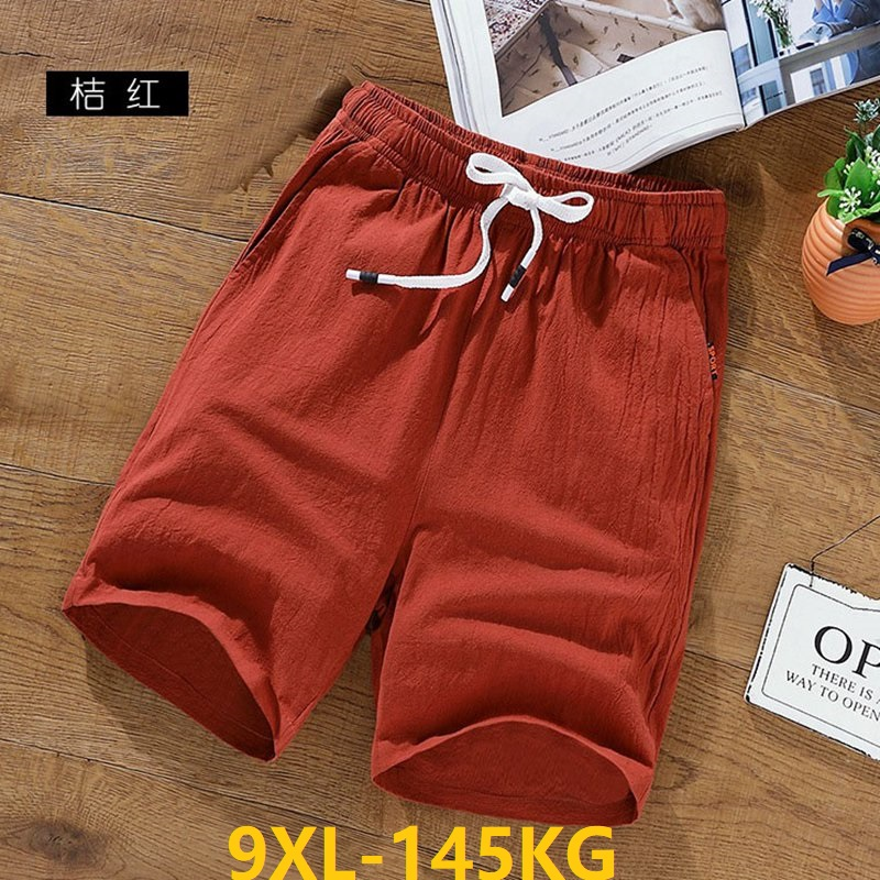MFERLIER Summer Men Linen Cotton Elastic Casual Shorts Plus Size Big 7XL 8XL Larger 9XL Shorts 50 52 54 Black Breathable Khaki